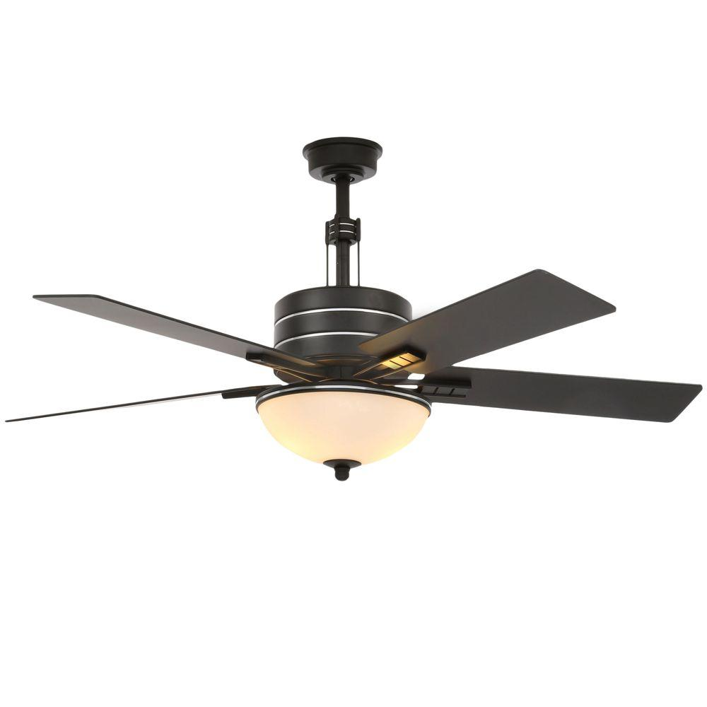 Carlsbad 52 in. Indoor Black Ceiling Fan with Light Kit and