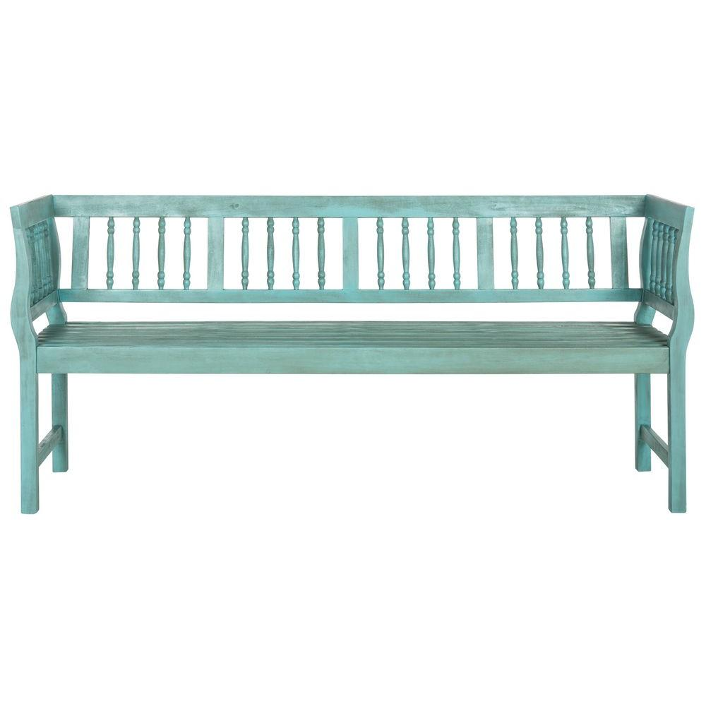 Brentwood Outdoor Acacia Patio Bench in Oriental Blue
