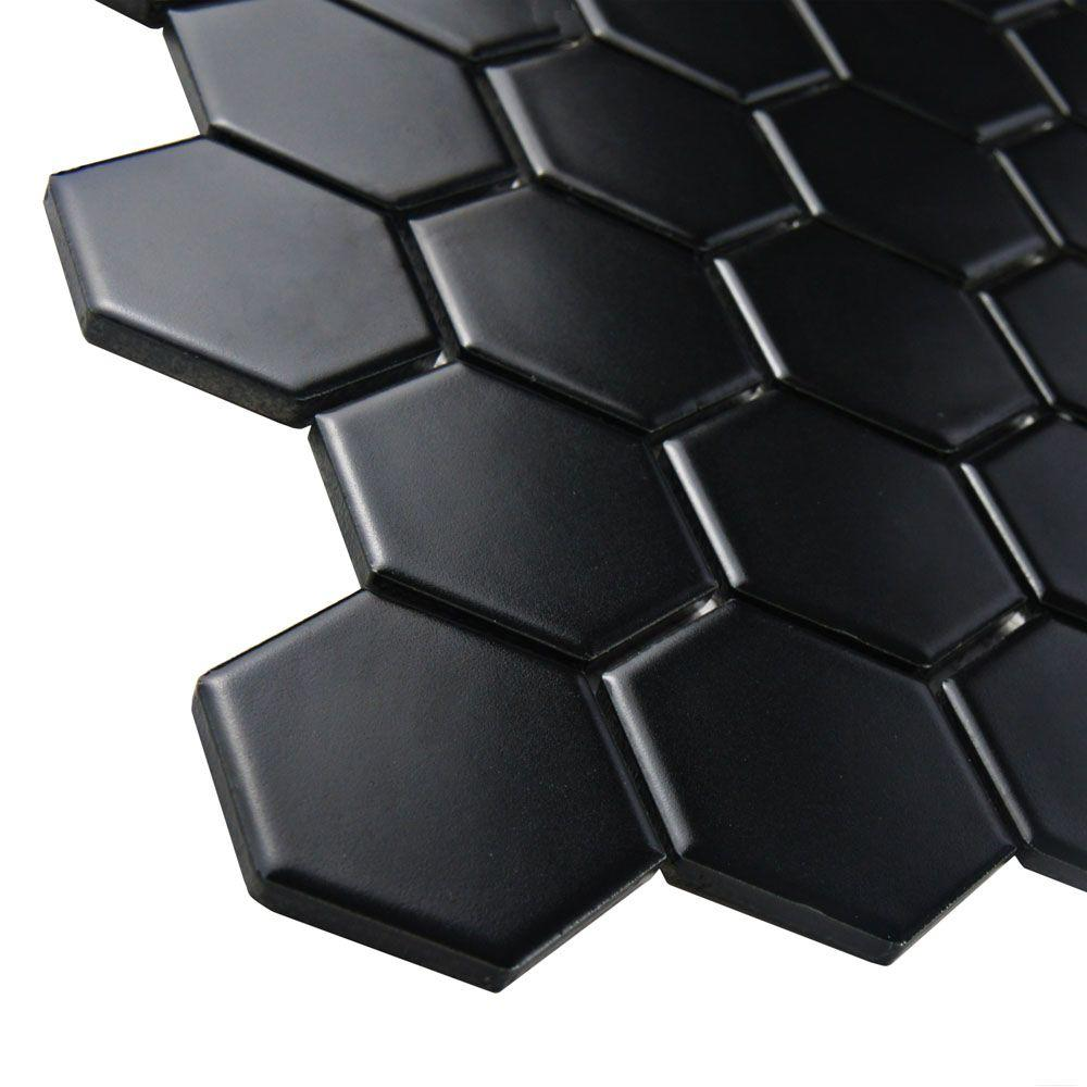 Merola Tile Metro Hex 2 in  Matte Black 10 1 2 in  x 11 in  x 5 mm  Porcelain Mosaic Tile  8 02 sq  ft    case  FXLM2HMB   The Home Depot. Merola Tile Metro Hex 2 in  Matte Black 10 1 2 in  x 11 in  x 5 mm