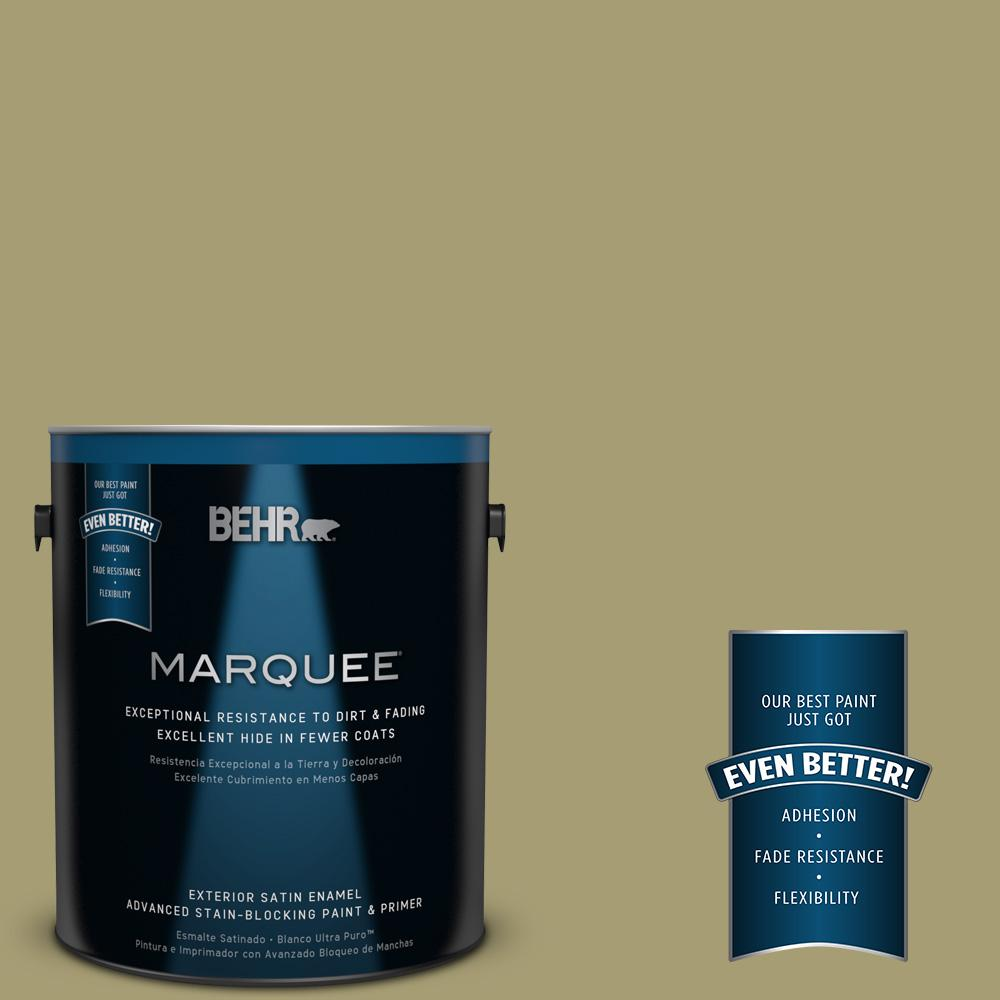 BEHR MARQUEE 1-gal. #PPU9-4 Fresh Olive Satin Enamel Exterior Paint