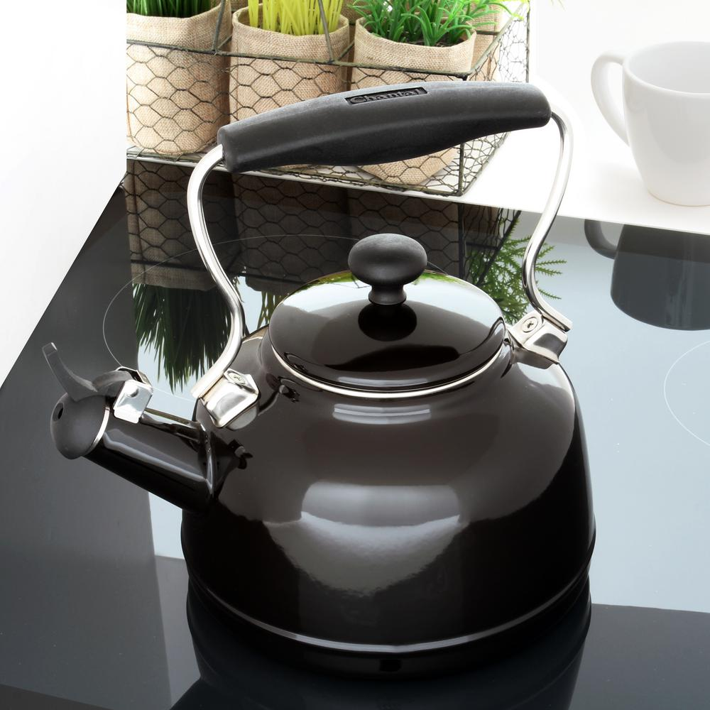 Chantal 1 7 qt enamel on steel vintage tea kettle in glossy black 37 vint bk the home depot - Chantal teapots ...