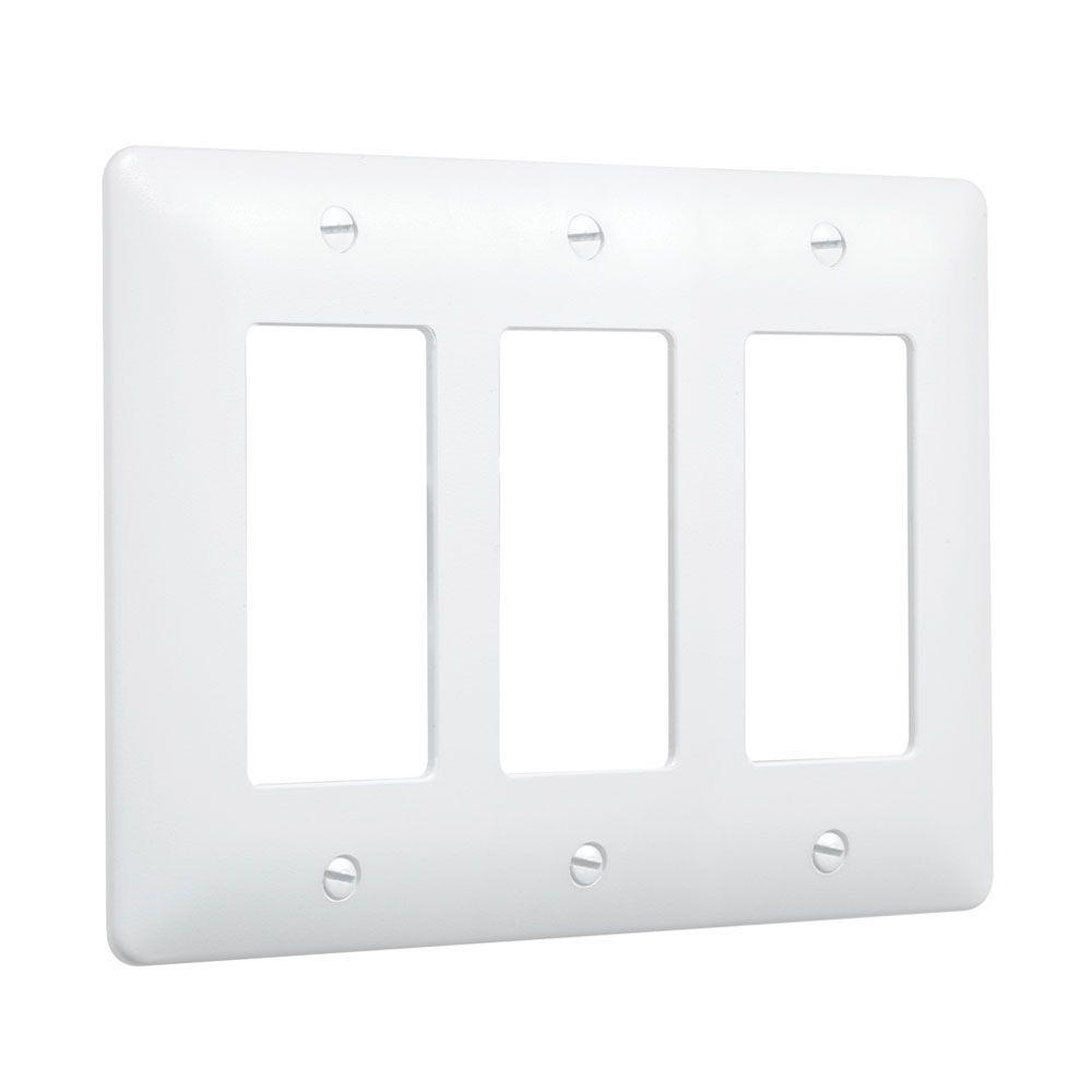 3 Gang 3 Decorator Plastic Wall Plate - White (10-Pack)