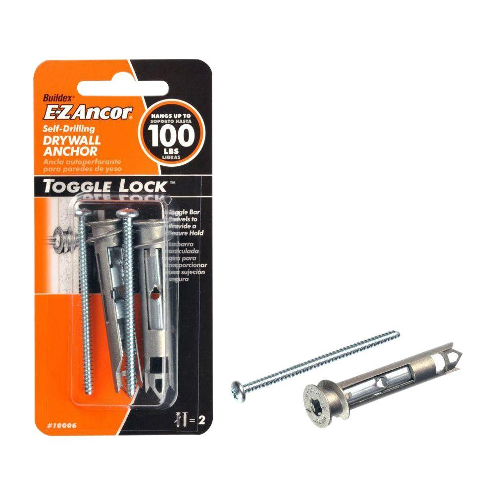 E-Z Ancor Toggle-Lock 100 lb. 2-1/2 in. Philips Zinc-Plated Alloy Flat-Head Self-Drilling Drywall Anchors (2-Pack)