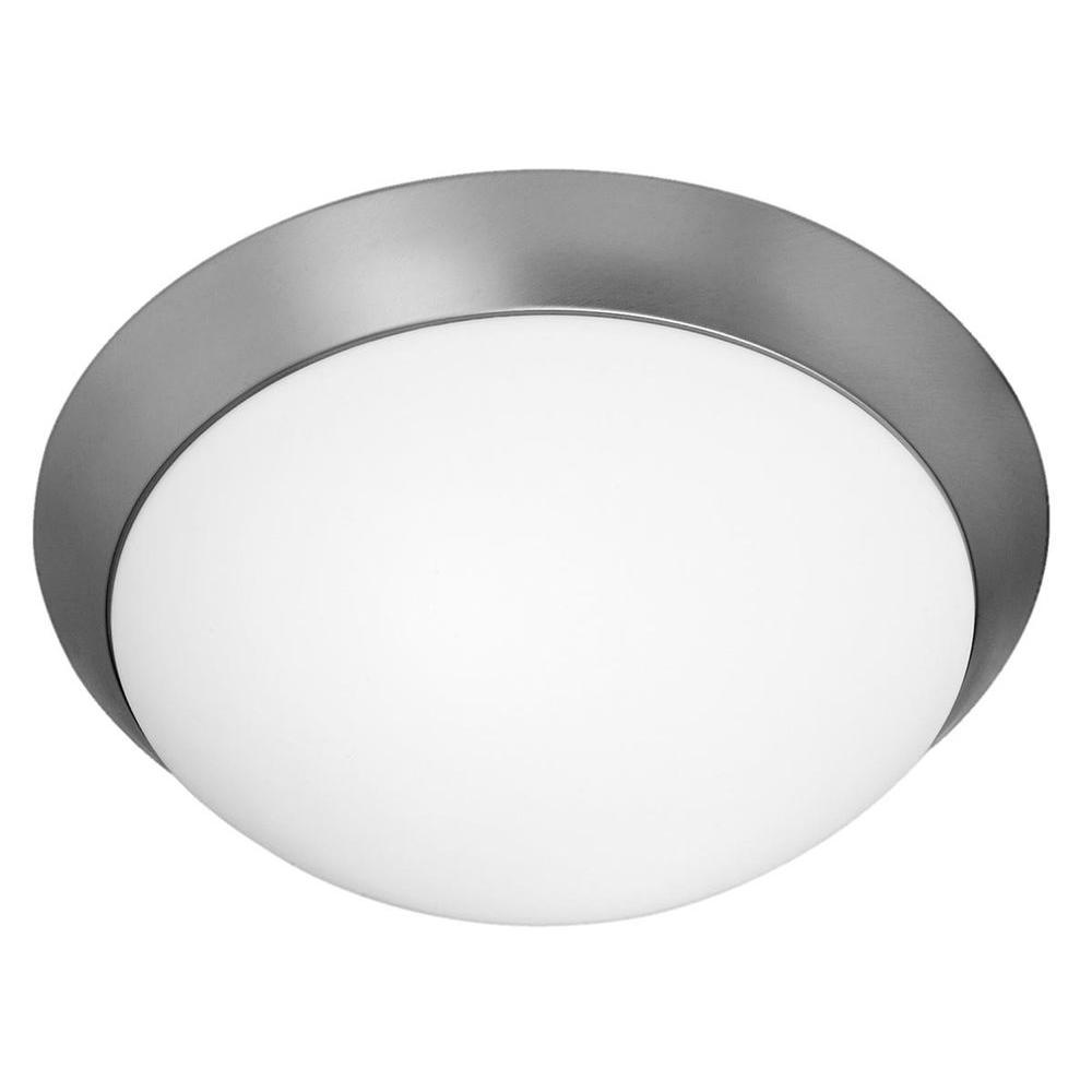 Access Lighting Cobalt 2-Light Brushed Steel Flushmount with Opal Glass