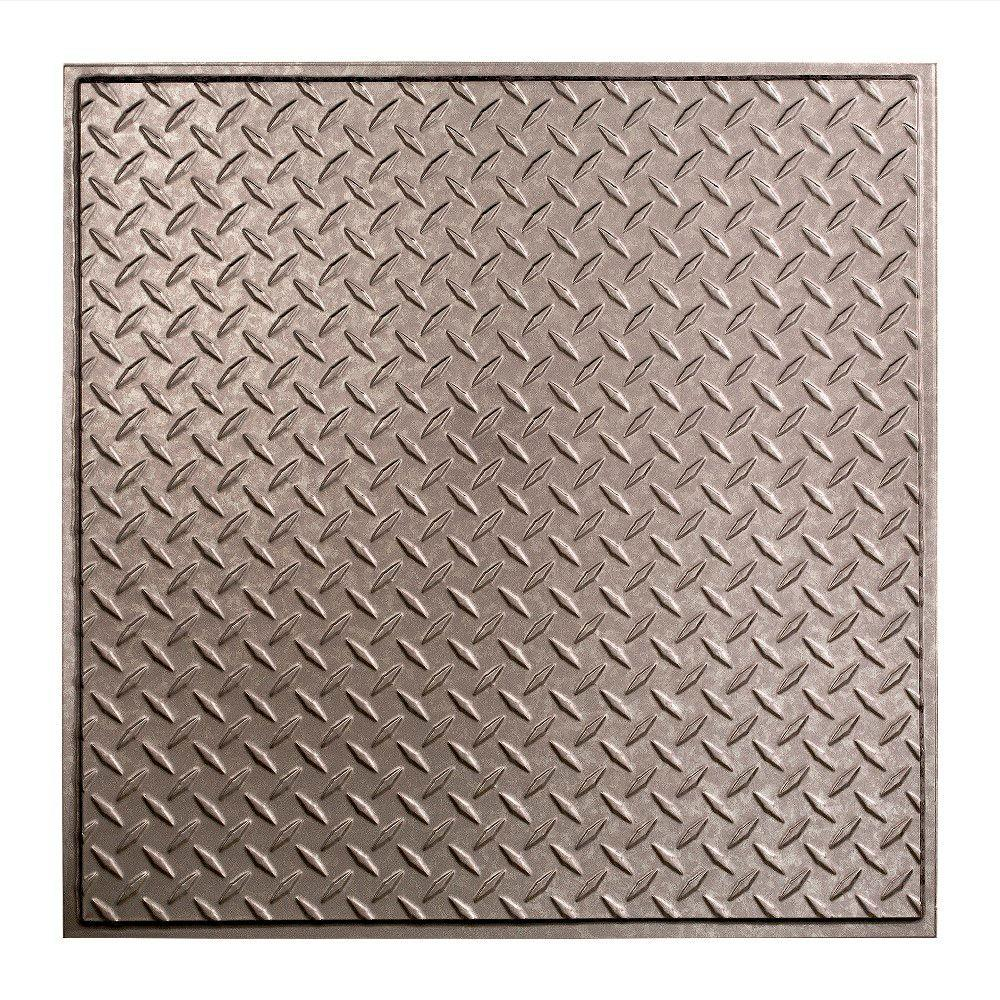 Fasade Diamond Plate - 2 ft. x 2 ft. Revealed Edge Lay-in Ceiling Tile in Galvanized Steel