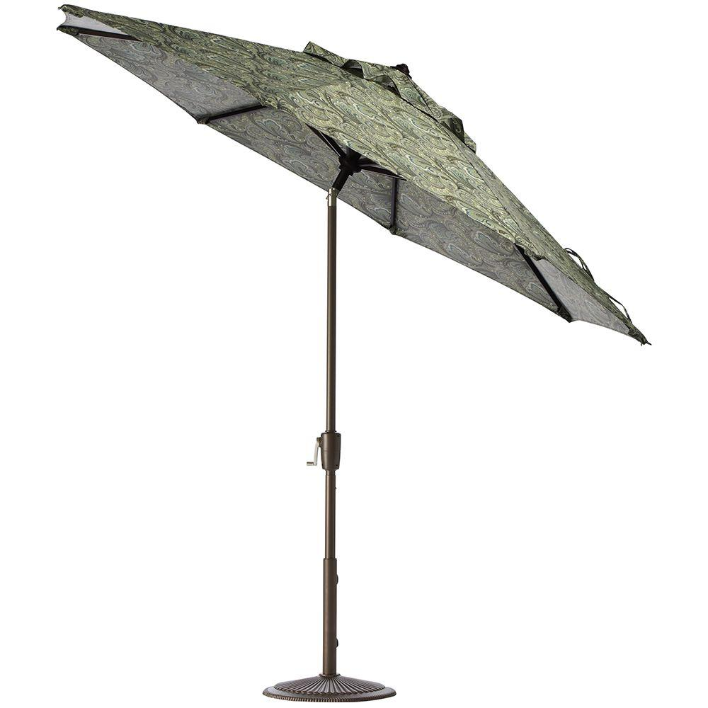 Home Decorators Collection 11 ft. Auto-Tilt Patio Umbrella in Marona Latte Polyester with Bronze Frame