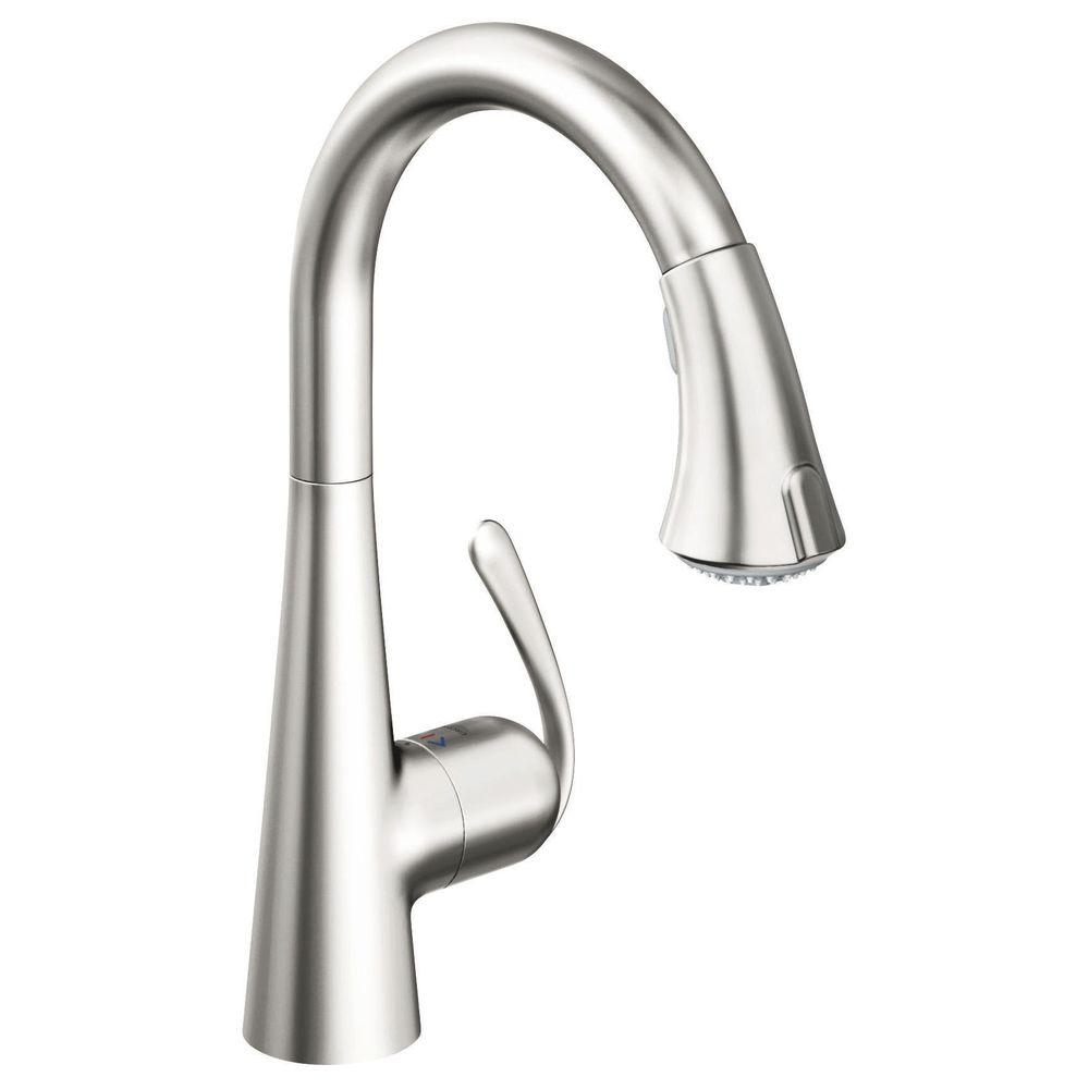 GROHE Ladylux 3 Cafe Single-Handle Pull-Down Dual Sprayer Kitchen Faucet in Stainless Steel