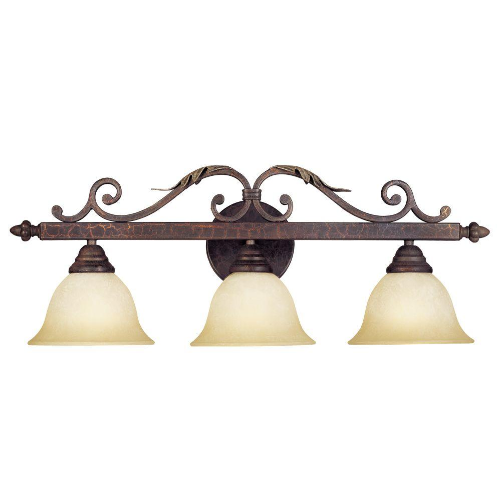 World Imports Olympus Tradition Collection 3-Light Crackled Bronze Bath Bar Light with Tea-Stained Glass Shades