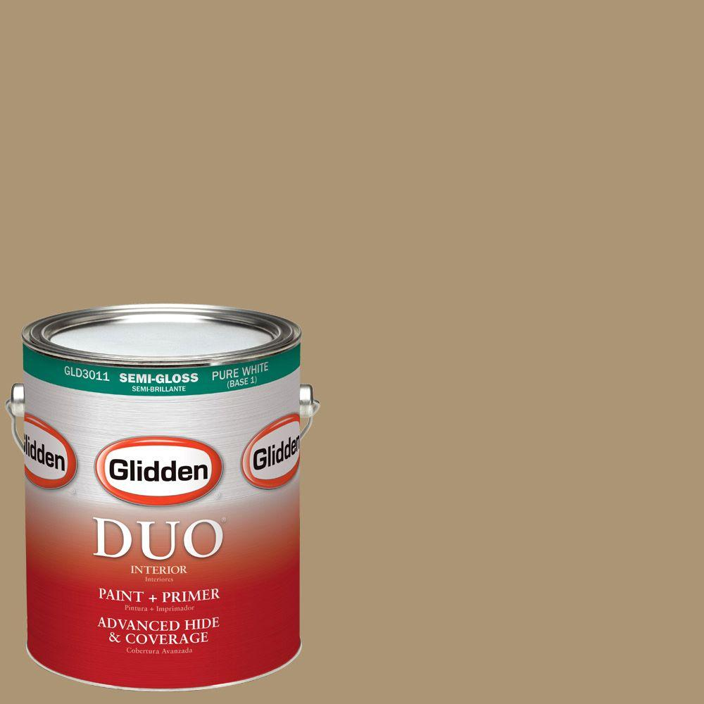 1-gal. #HDGY26U Mojave Gold Semi-Gloss Latex Interior Paint with Primer
