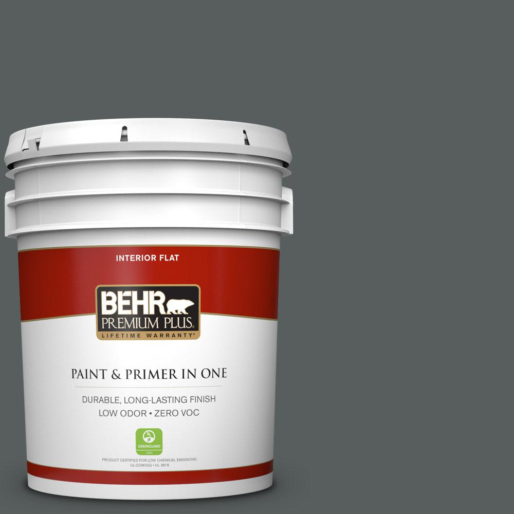 5 gal. #N500-6 Graphic Charcoal Zero VOC Flat Interior Paint