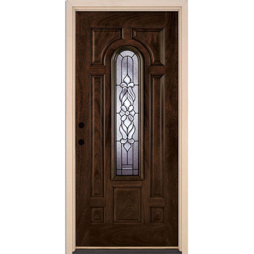 Feather River Doors 37.5 in.x81.625 in. Lakewood Patina Center Arch Lite Stained Chestnut Mahogany Right-Hand Fiberglass Prehung Front Door