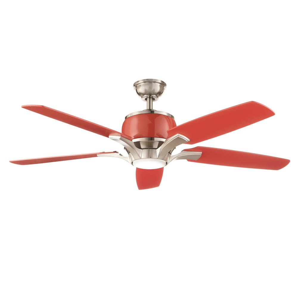 Home Decorators Collection Raymont 52 In Integrated Led Indoor Brushed Nickel And Red Ceiling