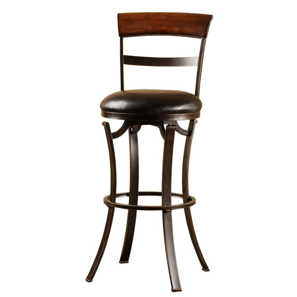 Hillsdale furniture kennedy 30 in swivel bar stool with black vinyl seat in black gold metal Home depot wood bar stools