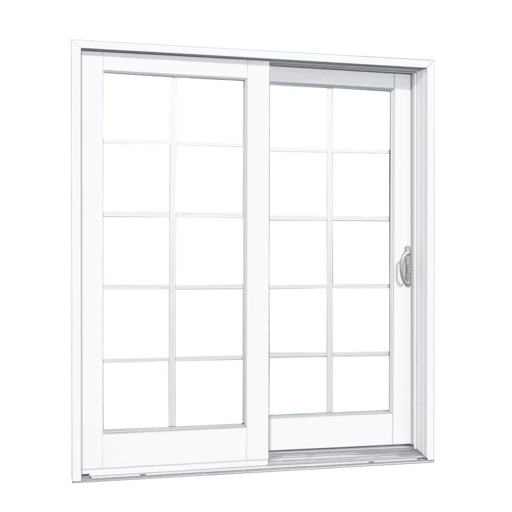 MasterPiece 60 in. x 80 in. Composite White Right-Hand DP50 Smooth Interior with 10-Lite GBG Sliding Patio Door