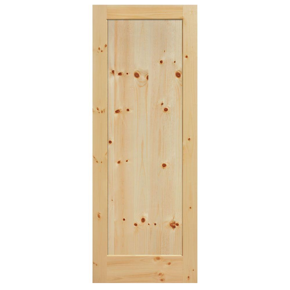 Masonite 30 in x 84 in knotty pine 1 panel shaker flat for Solid wood interior doors