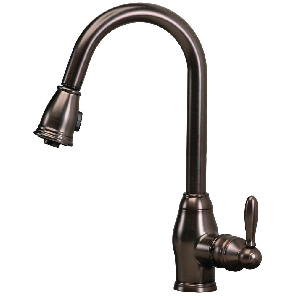 superior Pegasus Kitchen Faucets #3: Newbury Single-Handle Pull-Down Sprayer Kitchen Faucet in Oil Rubbed Bronze