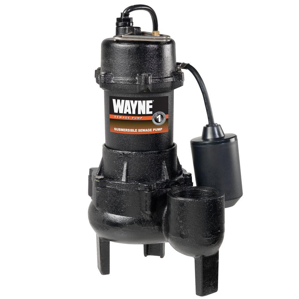 Wayne 1/2 HP Cast Iron Sewage Pump with Tether Float Switch