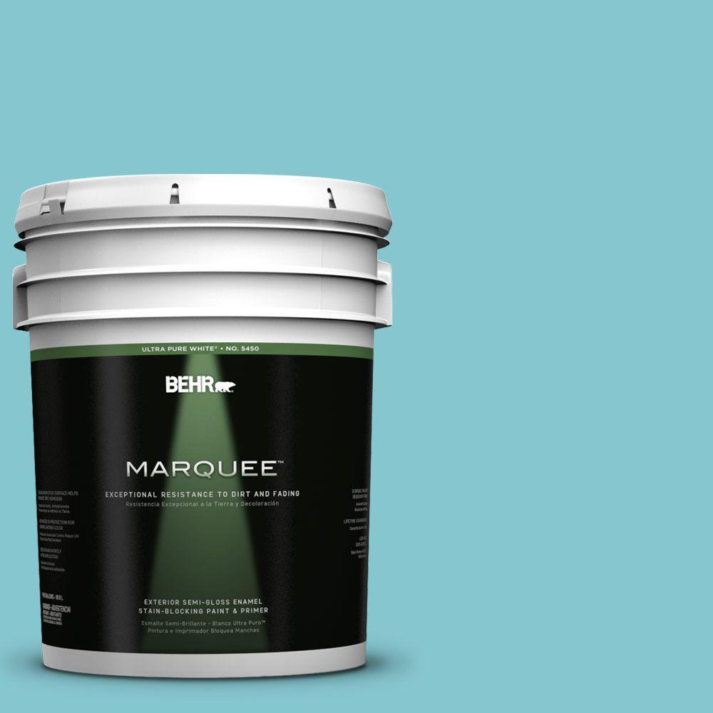 BEHR MARQUEE 5-gal. #520D-4 Shallow Sea Semi-Gloss Enamel Exterior Paint-545405