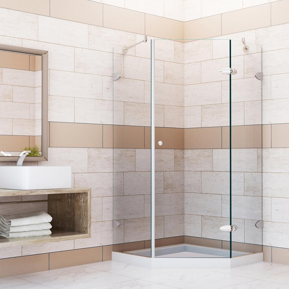Verona 38.125 in. x 76.75 in. Neo-Angle Shower Enclosure in Brushed