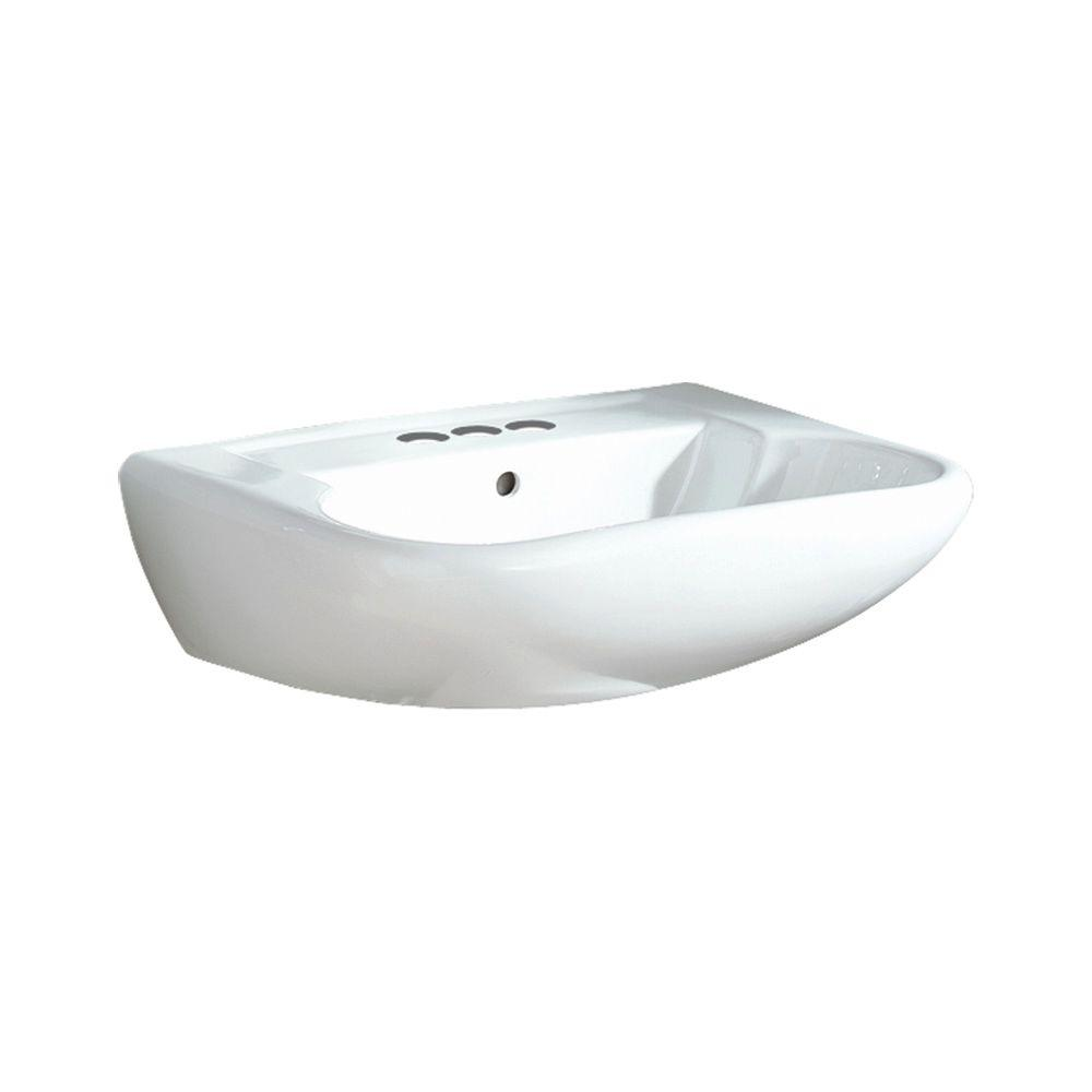 Southampton 9 in. Wall-Hung Vitreous China Pedestal Sink Basin in White