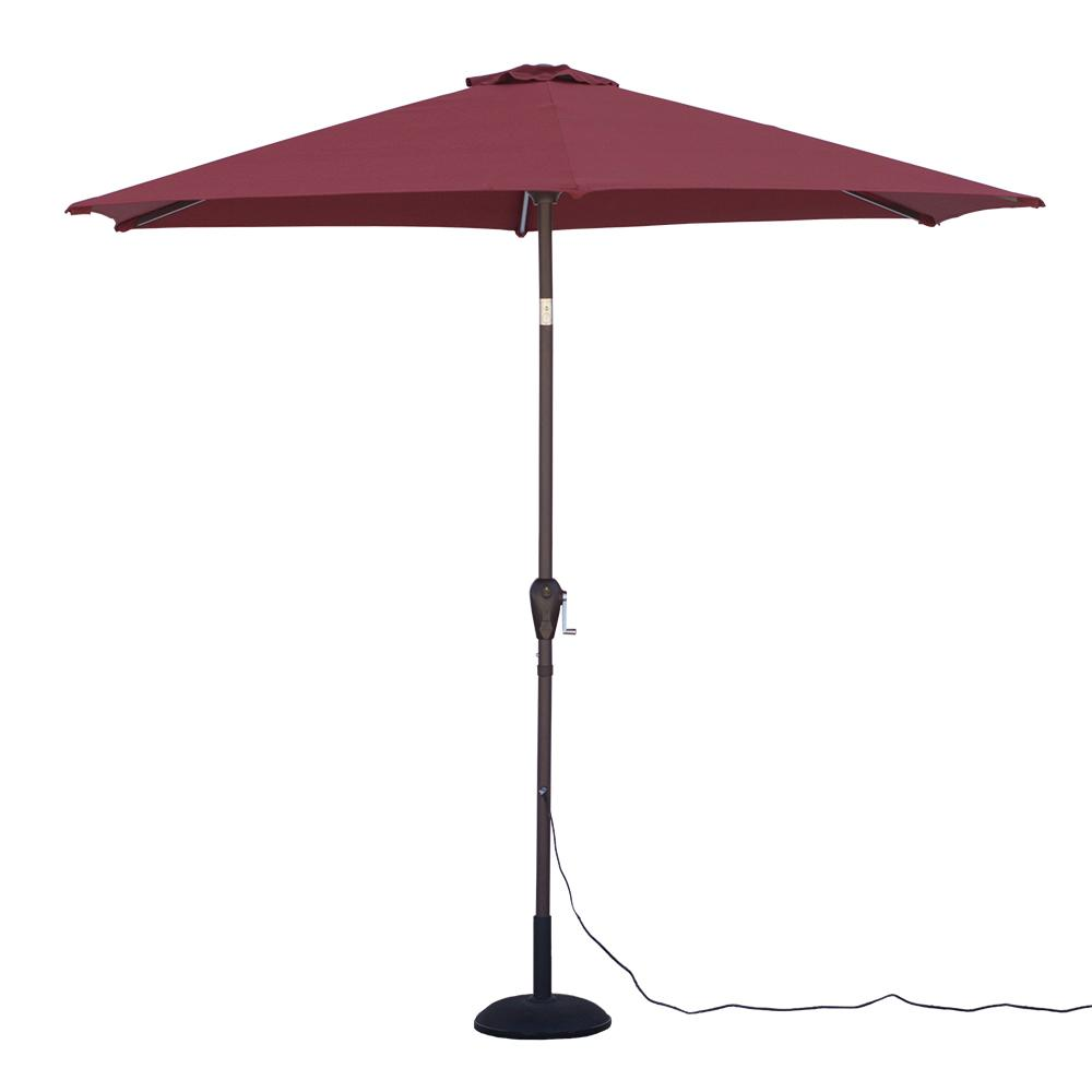 Round Tilting Patio Umbrella With Warm LED Lights In Red