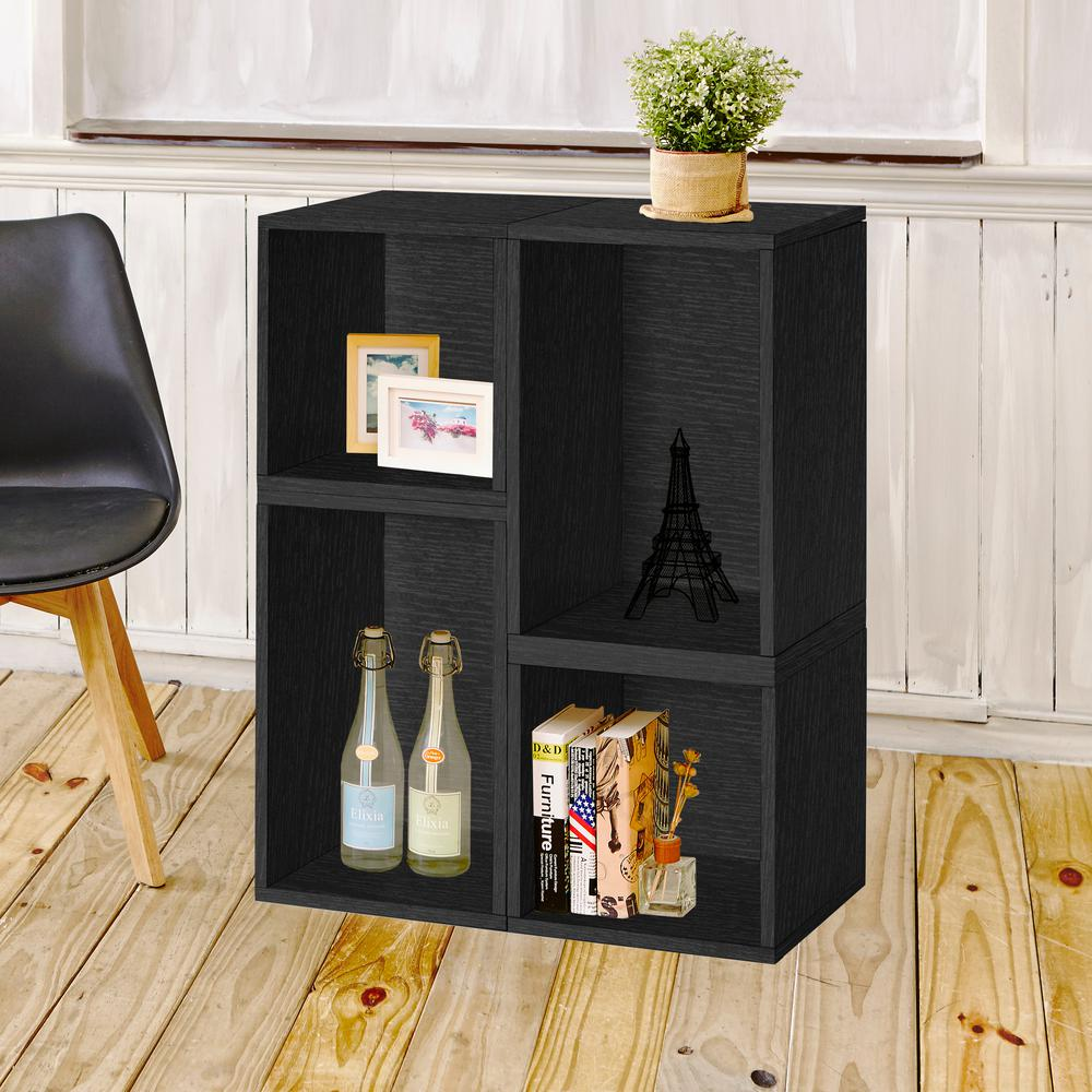 Blox System Verona Stackable 4-Cubby zBoard Paperboard Modular Bookcase and