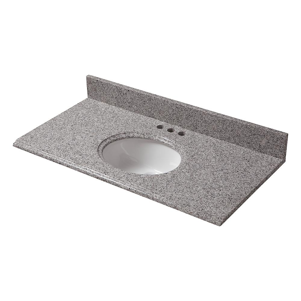 Pegasus 25 in. x 19 in. Granite Vanity Top in Napoli with White Bowl and 4 in. Faucet Spread