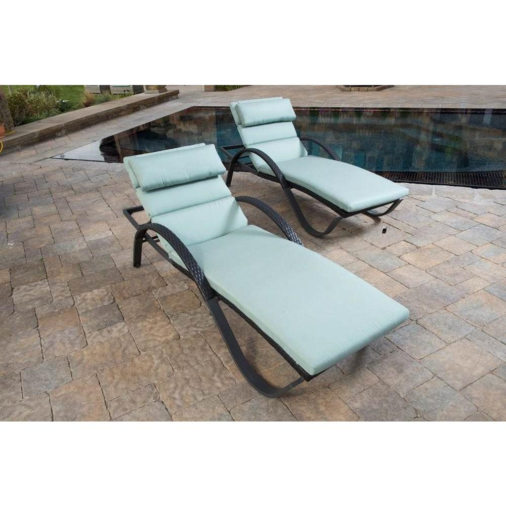 RST Brands Deco Patio Chaise Lounge with Bliss Blue Cushion and