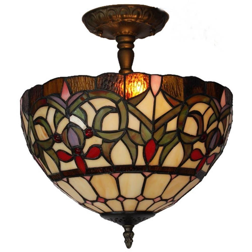 Amora Lighting 2-Light Tiffany Style Ceiling Lamp-AM1081HL12 - The Home Depot
