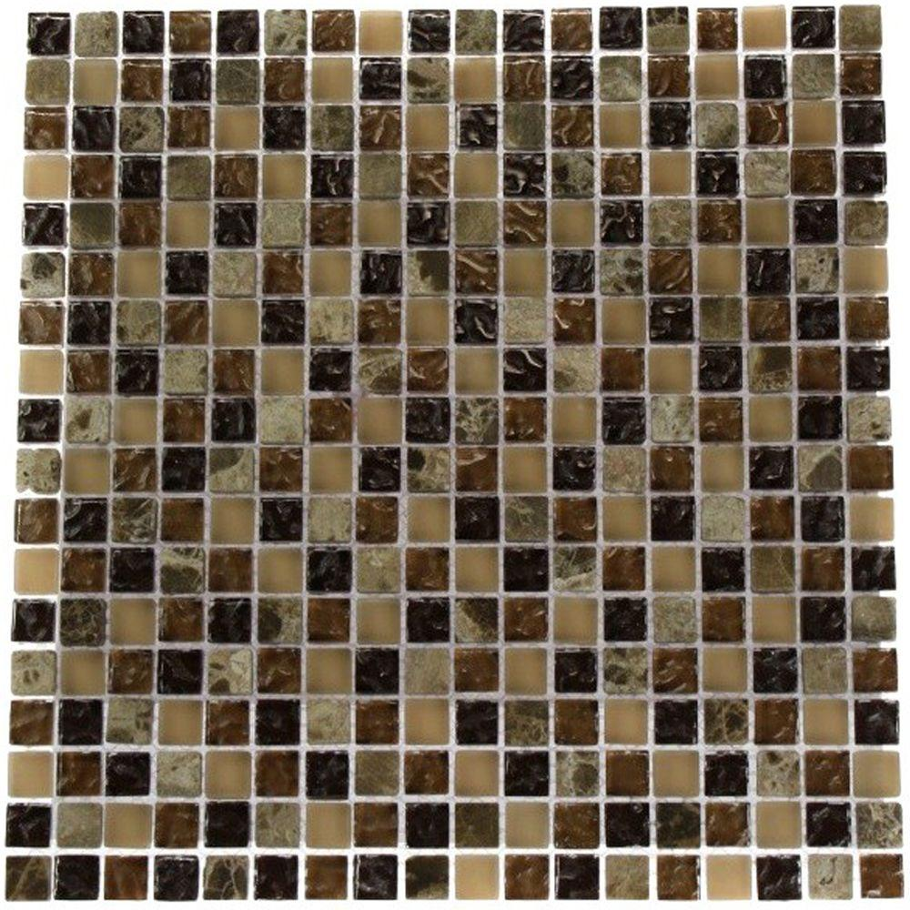 Brown Blend 12 in. x 12 in. x 8 mm Marble