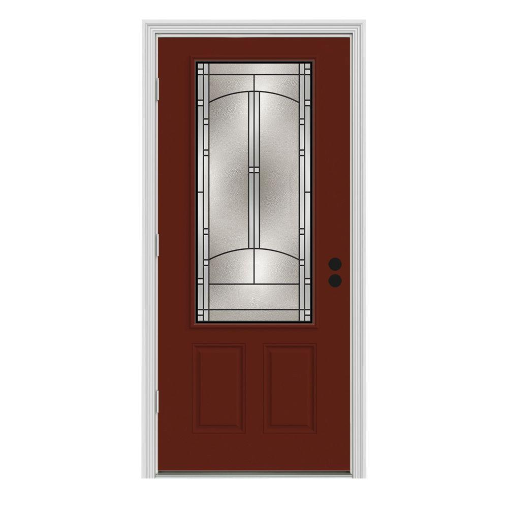 JELD-WEN 34 in. x 80 in. 3/4 Lite Idlewild Mesa Red Painted Steel Prehung Right-Hand Outswing Front Door w/Brickmould