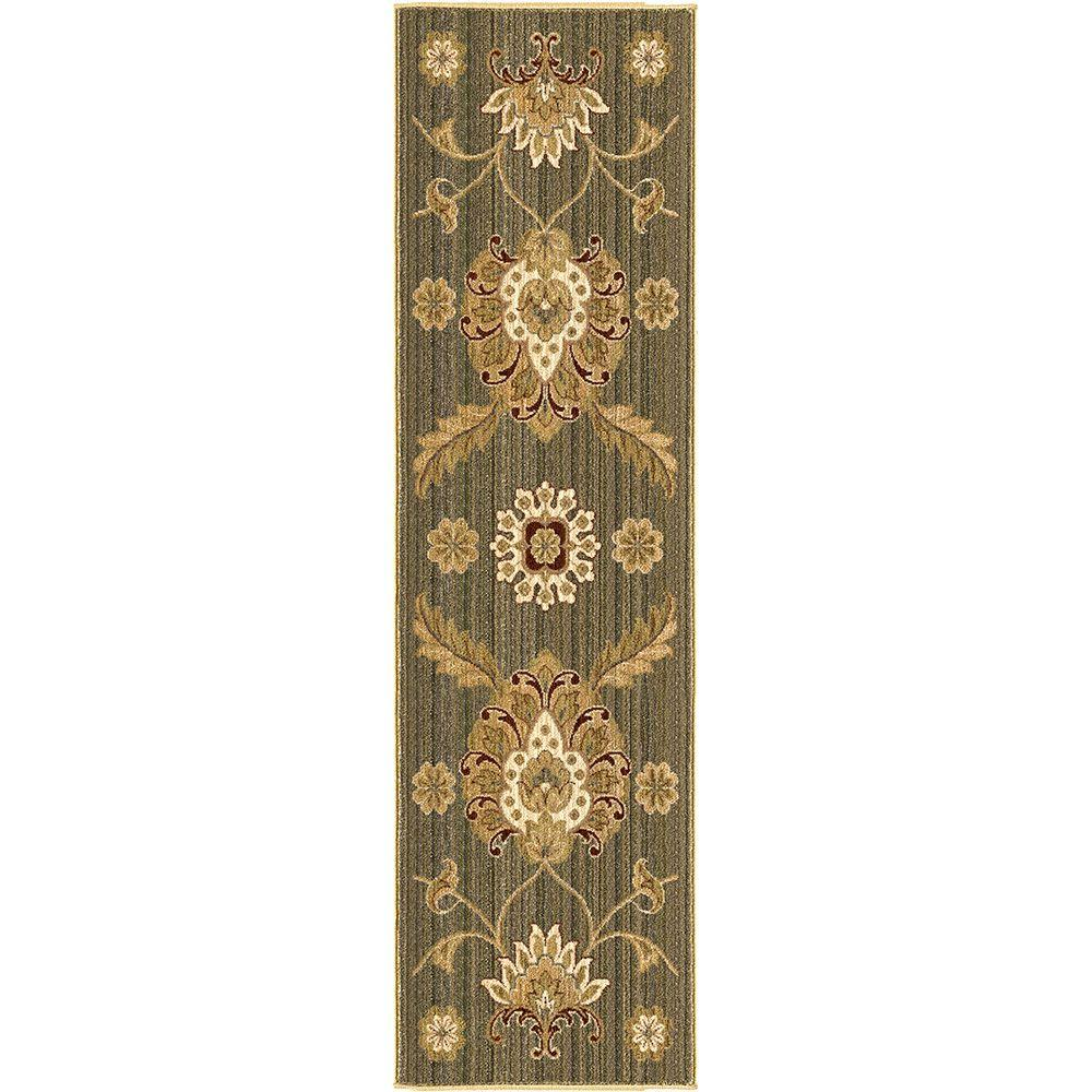 null Wallflower Green 2 ft. 3 in. x 8 ft. Indoor Rug Runner