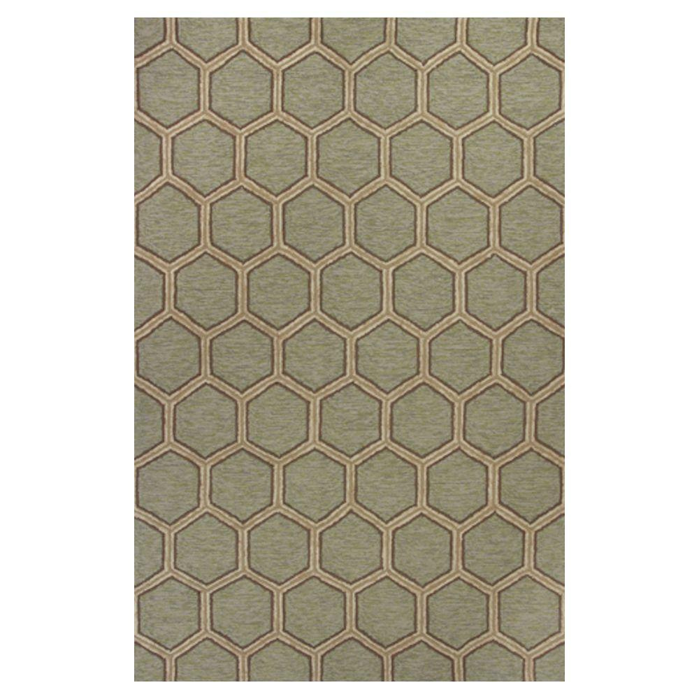 Kas Rugs Party Tiles Green/Cream 3 ft. 3 in. x 5 ft. 3 in. Area Rug