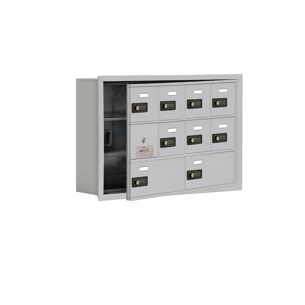 19100 Series 29.25 in. W x 18.75 in. H x 5.75 in. D 9 Doors Cell Phone Locker R-Mount Resettable Locks in Aluminum (Silver)