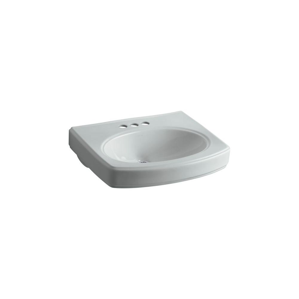 Pinoir 4 in. Vitreous China Pedestal Sink Basin in Ice Grey