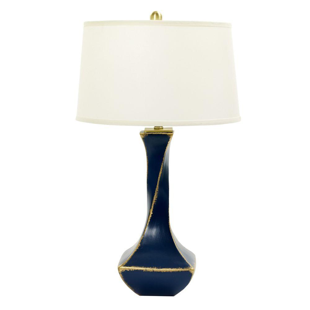 m.r. Lamp and Shade's 32 in. Navy Tarnished Gold Twisted Ceramic