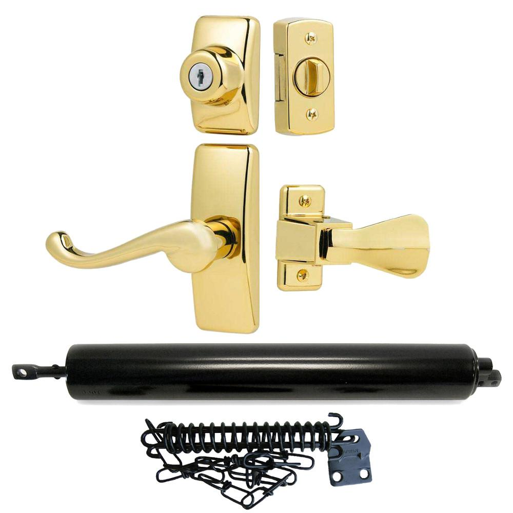 Storm Door Upgrade Bundle Bright Brass Traditional Lever Black Closer and