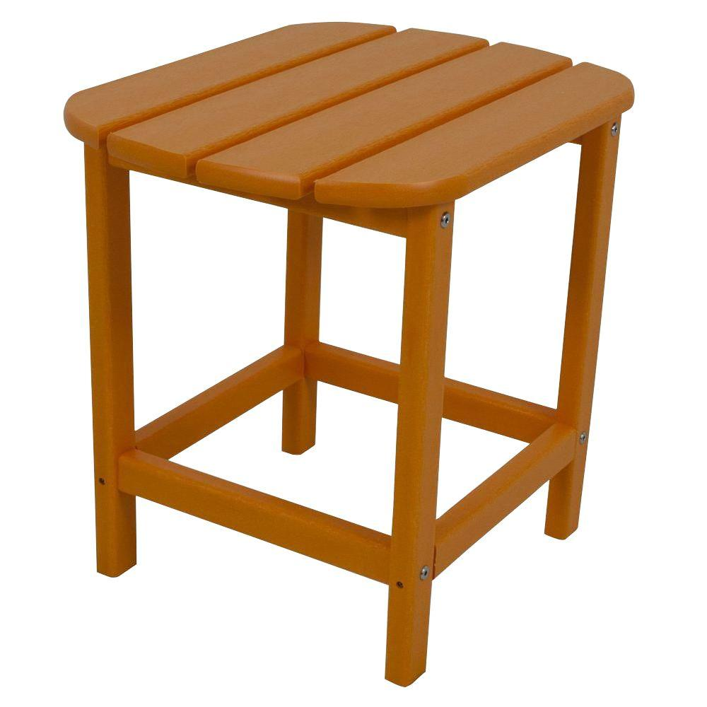 POLYWOOD South Beach 18 in. Tangerine Patio Side Table