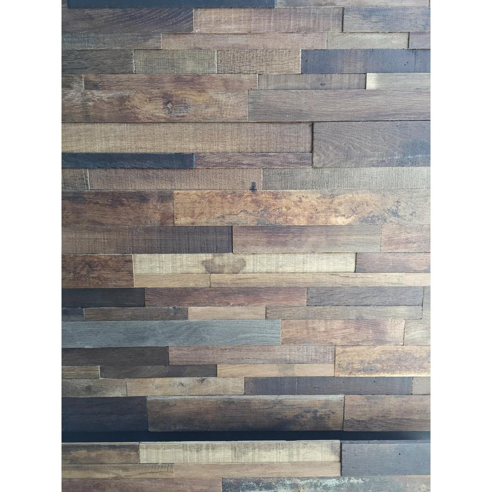 Wall Panels Home Depot reclaimed 1 in. x 39.5 in. x 11.5 in. wine soaked wine barrel wood