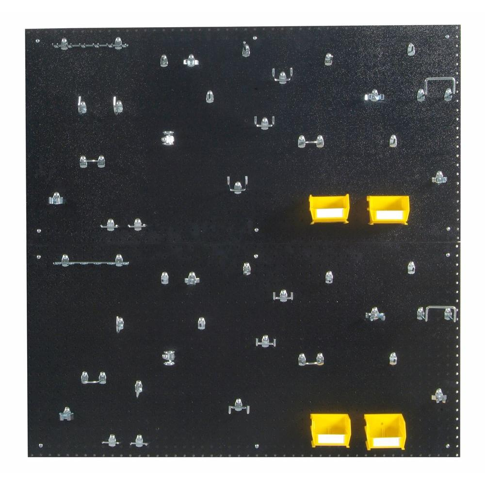 9/32 in. Hole Size (2) Black Polyethylene Pegboards Matte Front Finish