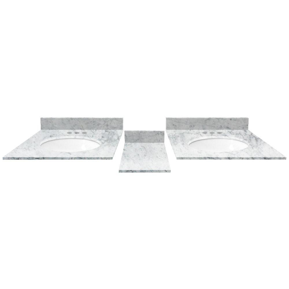 60 in. Marble Double Vanity Top in White Carrara with White