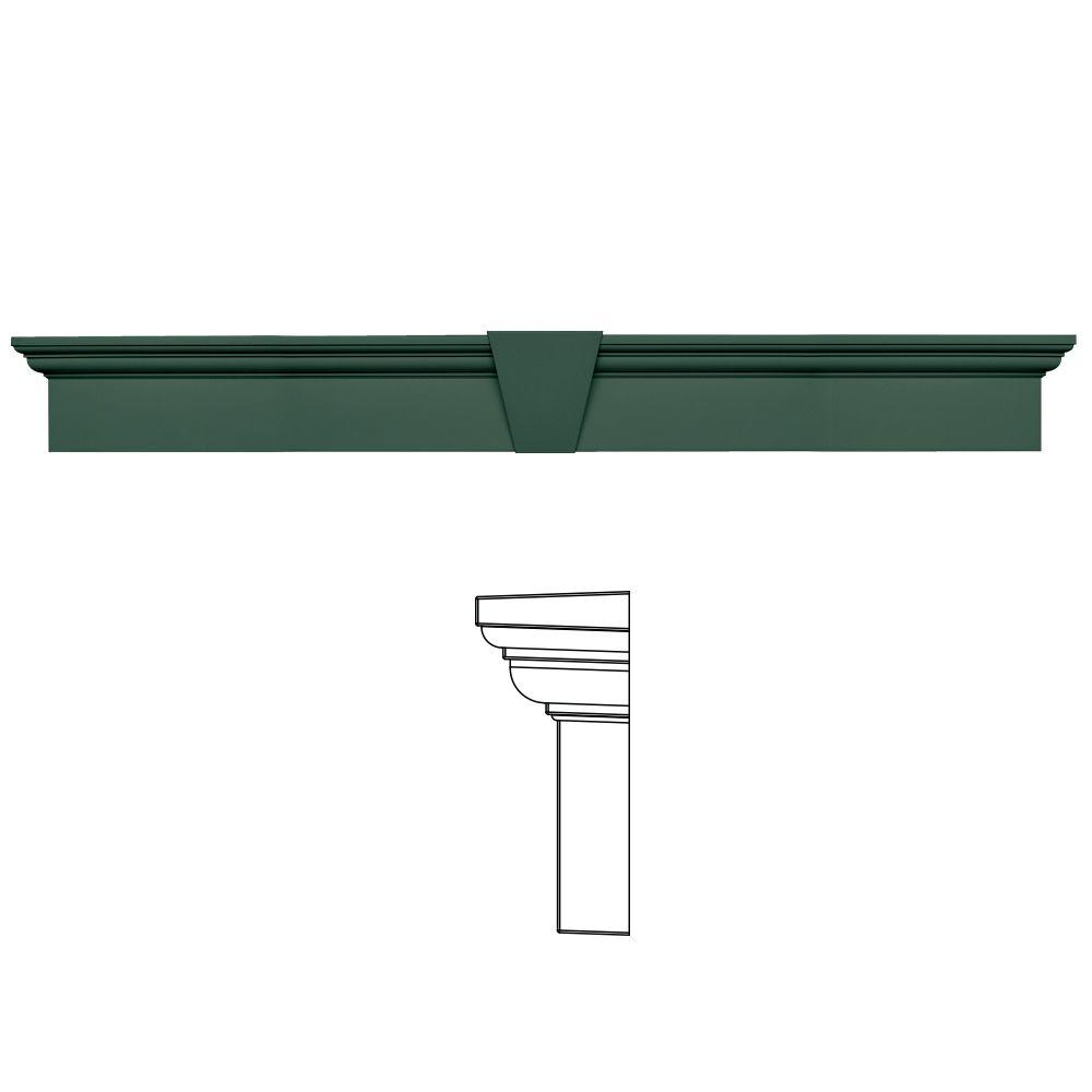 Builders Edge 9 in. x 73-5/8 in. Flat Panel Window Header with Keystone in 028 Forest Green