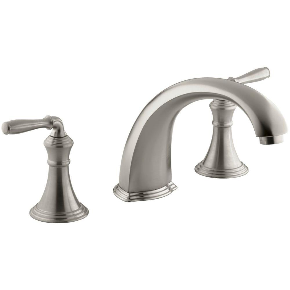 Devonshire 2-Handle Deck and Rim-Mount Roman Tub Faucet Trim Kit in Vibrant Brushed Nickel (Valve Not Included)