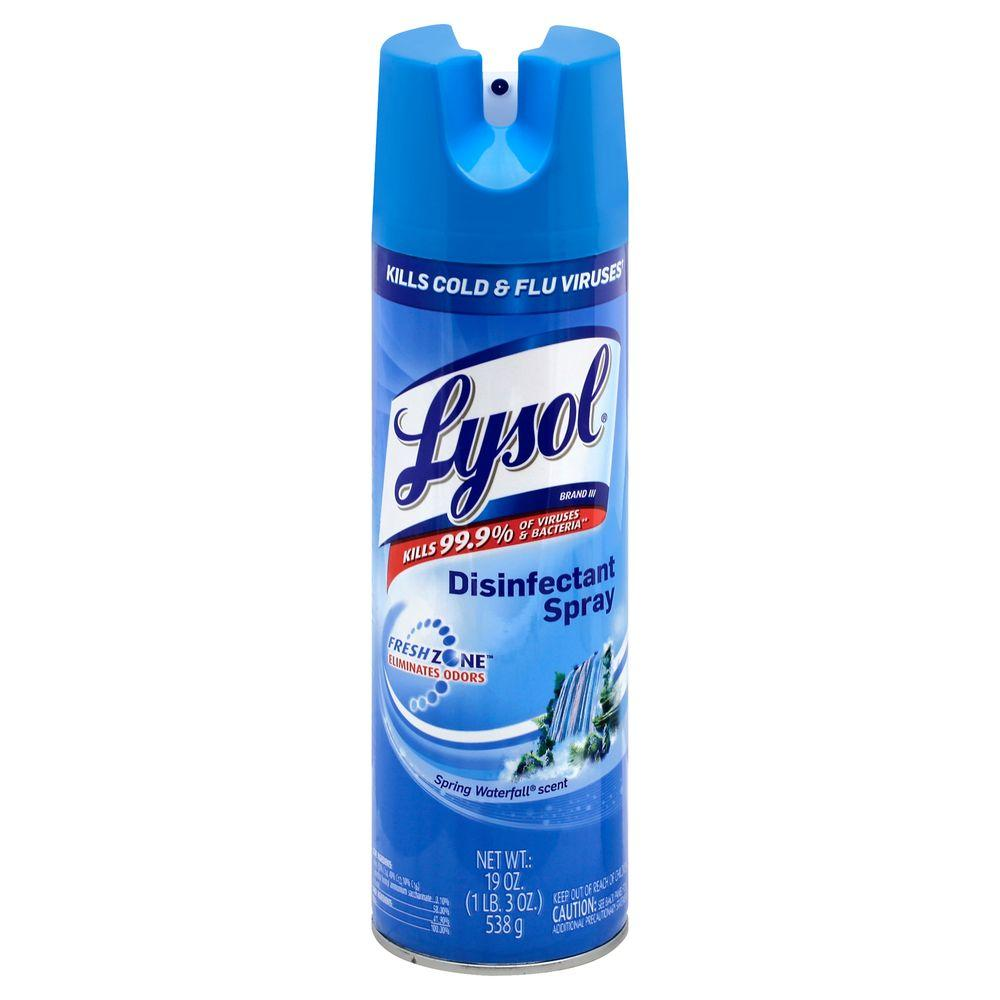 Lysol 19 Oz Spring Waterfall Disinfectant Spray 12 Pack