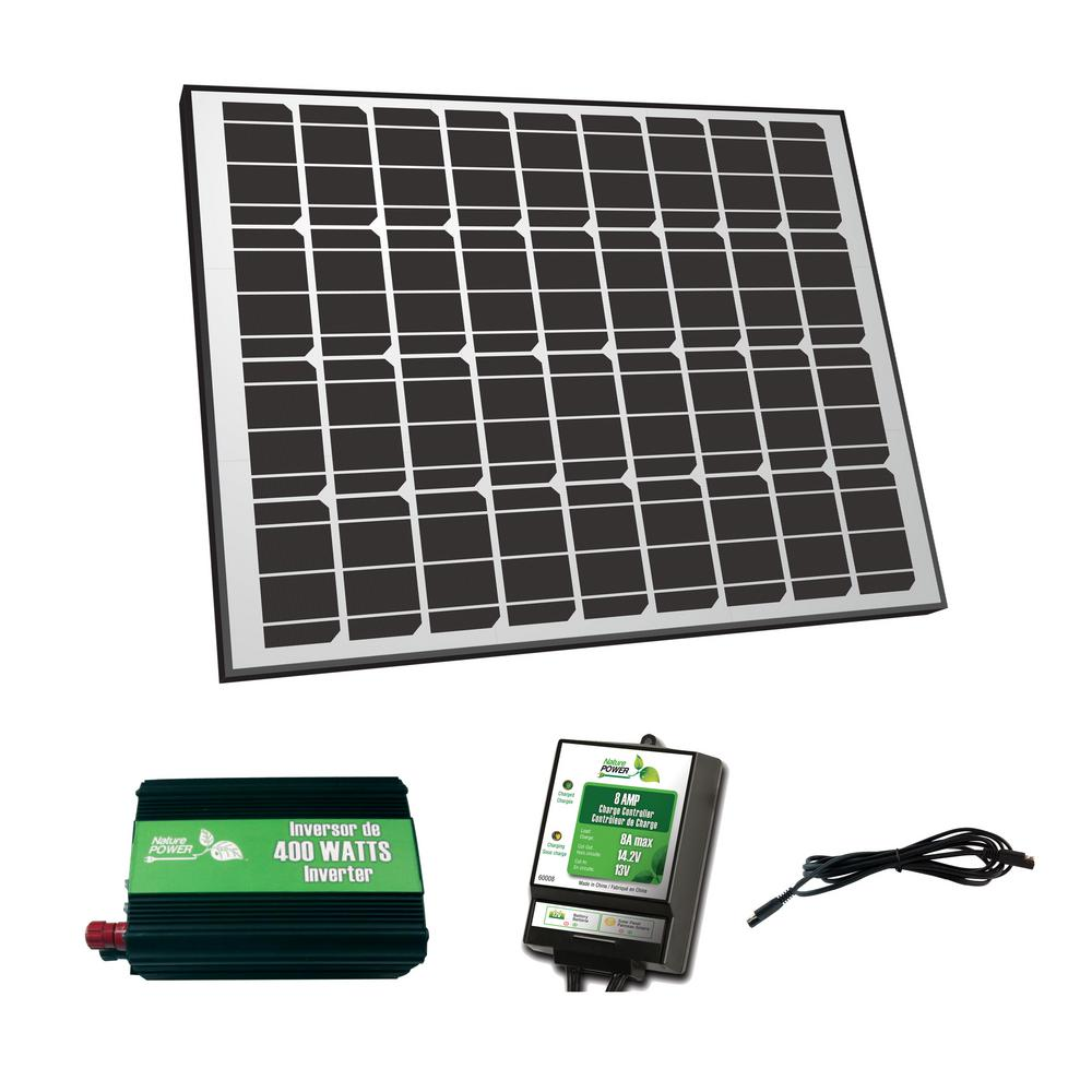 Nature Power 90-Watt Solar Panel 12-Volt Off-Grid Charger Kit