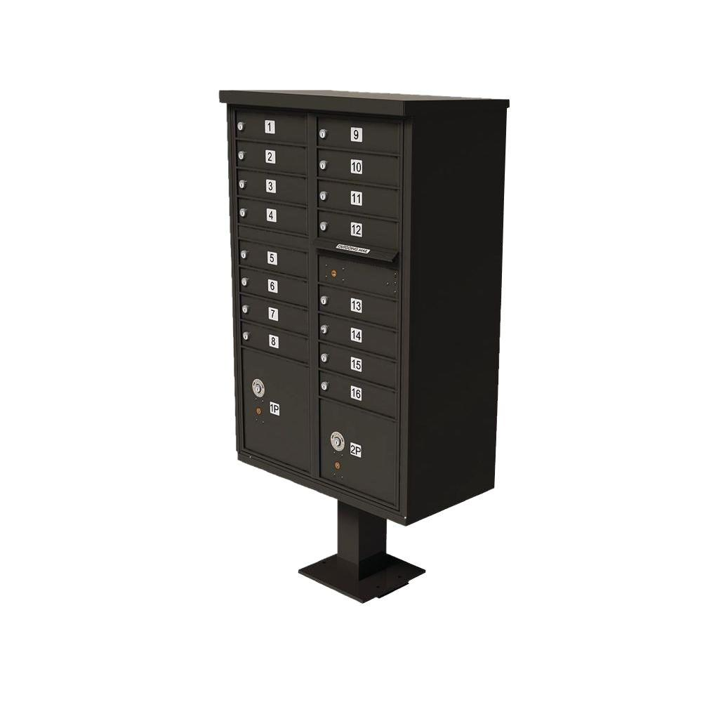 Florence Vital 1570 Series Dark Bronze 1 Outgoing Mail Compartment Cluster Box Unit with 16 Mailboxes, 2 Parcel Lockers