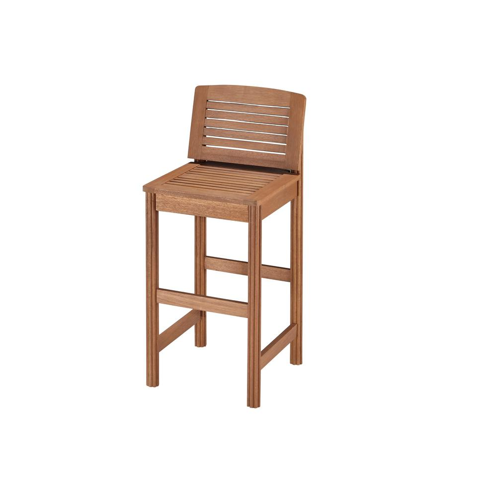 Home styles bali hai eucalyptus shorea wood patio bar stool 5662 89 the home depot Home depot wood bar stools
