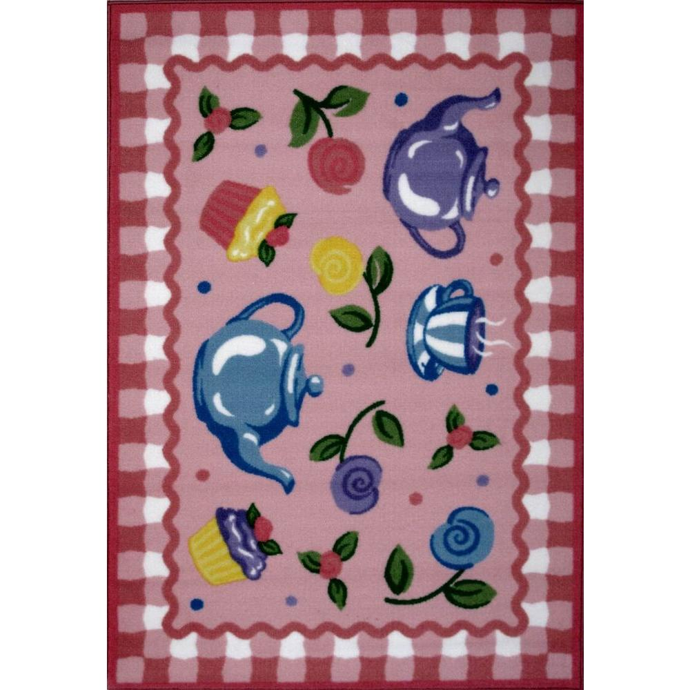 LA Rug Olive Kids Tea Party Multi Colored 19 in. x 29 in. Area Rug