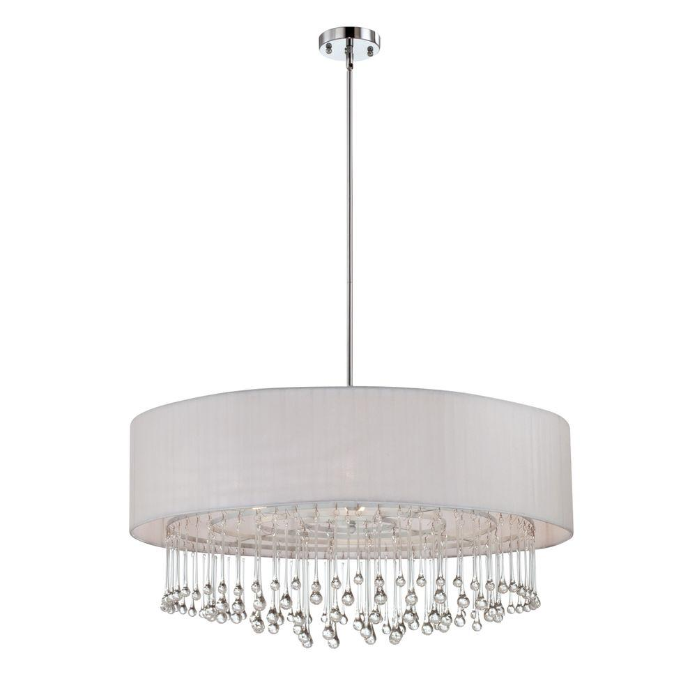 Eurofase Penchant Collection 6-Light Chrome and White Pendant-20586-027 - The