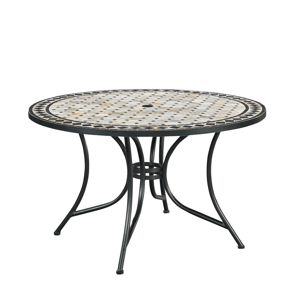 Hampton bay belcourt metal round outdoor dining table for Metal dining table